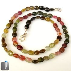 66.15cts NATURAL MULTICOLOR TOURMALINE 925 SILVER BEADS NECKLACE JEWELRY G8763