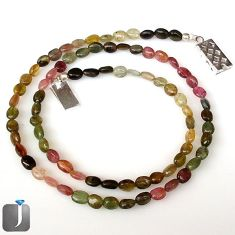 53.28cts NATURAL MULTICOLOR TOURMALINE 925 SILVER BEADS NECKLACE JEWELRY G8768