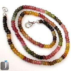 58.60cts NATURAL MULTICOLOR TOURMALINE 925 SILVER BEADS NECKLACE JEWELRY G8772