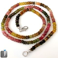 62.60cts NATURAL MULTICOLOR TOURMALINE 925 SILVER BEADS NECKLACE JEWELRY G8775
