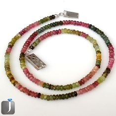 58.45cts NATURAL MULTICOLOR TOURMALINE 925 SILVER BEADS NECKLACE JEWELRY G8779