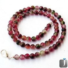 NATURAL MULTICOLOR TOURMALINE 925 SILVER NECKLACE ROUND BEADS JEWELRY G36995