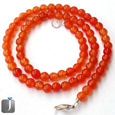 123.21cts NATURAL ORANGE CARNELIAN 925 SILVER BEADS NECKLACE JEWELRY F96949