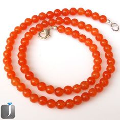 116.70cts NATURAL ORANGE CARNELIAN 925 SILVER BEADS NECKLACE JEWELRY G8762