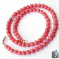 128.27cts NATURAL PINK OPAL 925 SILVER NECKLACE ROUND BEADS JEWELRY F24940
