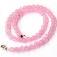 NATURAL PINK ROSE QUARTZ ROUND 925 SILVER NECKLACE BEADS JEWELRY H8986