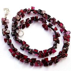 NATURAL RARE POMEGRANATE RED GARNET 925 SILVER NECKLACE BEADS JEWELRY H20363