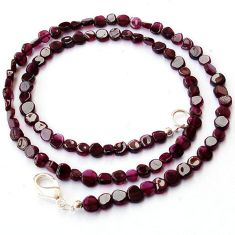 NATURAL RED GARNET COIN SHAPE 925 SILVER NECKLACE BEADS JEWELRY H8949