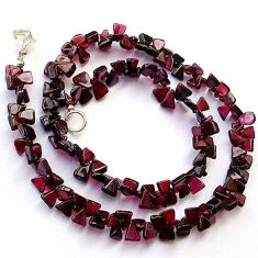 144.56cts NATURAL RED GARNET FANCY 925 SILVER NECKLACE BEADS JEWELRY H20402