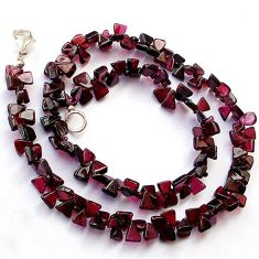NATURAL RED GARNET PEAR SHAPE 925 SILVER NECKLACE BEADS JEWELRY H8924