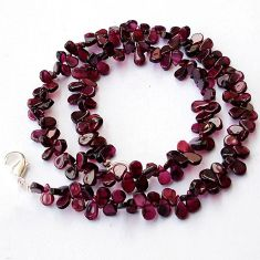 NATURAL RED GARNET PEAR SHAPE 925 SILVER NECKLACE BEADS JEWELRY H8937