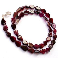 NATURAL RED GARNET PEAR SHAPE 925 SILVER NECKLACE BEADS JEWELRY H8947