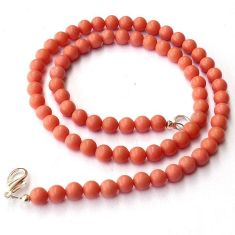 PINK CORAL ROUND 925 SILVER BEADS NECKLACE JEWELRY H8901
