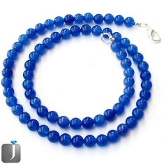 118.98cts RARE NATURAL BLUE JADE ROUND 925 SILVER NECKLACE BEADS JEWELRY G44950