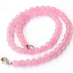 RARE NATURAL PINK ROSE QUARTZ 925 SILVER NECKLACE ROUND BEADS JEWELRY H20493