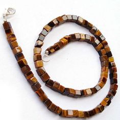 SEDUCTIVE NATURAL BROWN TIGERS EYE 925 SILVER NECKLACE BEADS JEWELRY H20364