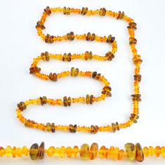 Sterling silver 71.50cts natural baltic amber (poland) beads necklace c3268