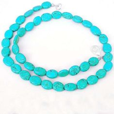 SUPERB OVAL GREEN TURQUOISE TIBETAN 925 SILVER NECKLACE BEADS JEWELRY H20340