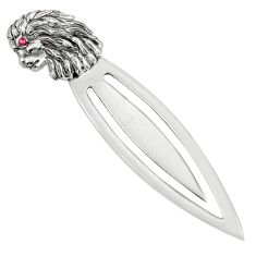 3.02gms natural red ruby 925 sterling silver loin bookmark jewelry c26716