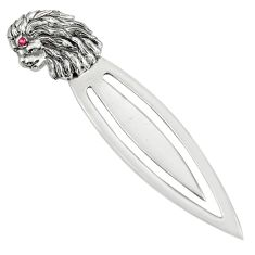 2.87gms natural red ruby 925 sterling silver loin bookmark jewelry c26720