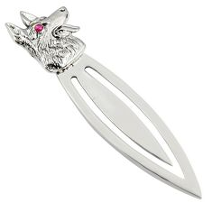 3.67gms natural red ruby 925 sterling silver wolf bookmark jewelry c26743