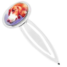 9.03cts multi color dog cameo 925 sterling silver bookmark jewelry c3449