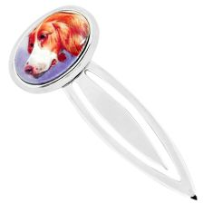 9.02cts multi color dog cameo 925 sterling silver bookmark jewelry c3450