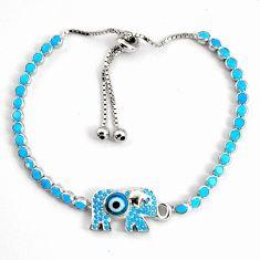 925 silver 8.28cts adjustable blue evil eye talismans tennis bracelet c5018
