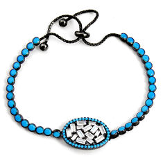 925 silver 12.40cts adjustable rhodium sleeping beauty turquoise bracelet c5069
