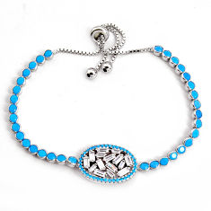 925 silver 12.04cts adjustable sleeping beauty turquoise tennis bracelet c5060