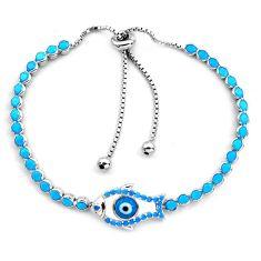 925 silver 6.53cts blue evil eye talismans tennis adjustable bracelet c4968