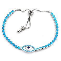 925 silver 6.57cts blue sleeping beauty turquoise adjustable bracelet c4996