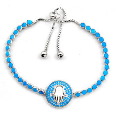 925 silver 7.25cts blue sleeping beauty turquoise adjustable bracelet c5000