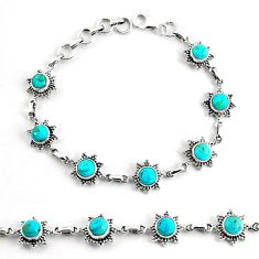 925 silver 8.71cts blue sleeping beauty turquoise tennis bracelet p68109