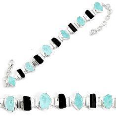 925 silver 45.75cts natural aqua aquamarine rough fancy tennis bracelet p35644