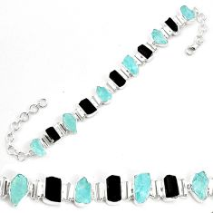 925 silver 46.60cts natural aqua aquamarine rough fancy tennis bracelet p35659