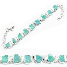 925 silver 38.99cts natural aqua aquamarine rough tennis bracelet p69044