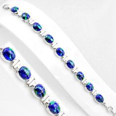 925 silver 37.16cts natural blue azurite malachite oval tennis bracelet p89033