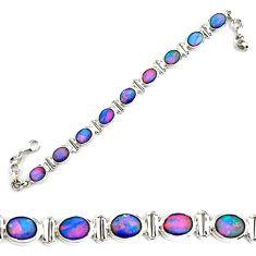 925 silver 24.77cts natural blue doublet opal australian tennis bracelet p70750
