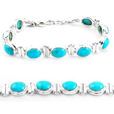 925 silver 36.86cts natural blue kingman turquoise oval tennis bracelet p64464