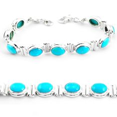925 silver 38.27cts natural blue kingman turquoise oval tennis bracelet p64467