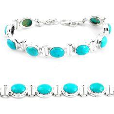 925 silver 37.57cts natural blue kingman turquoise tennis bracelet p64471