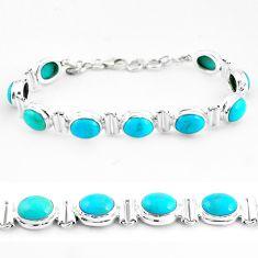 925 silver 36.05cts natural blue kingman turquoise tennis bracelet p64475