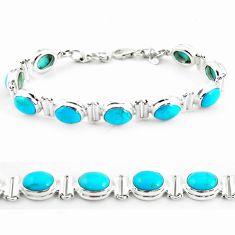 925 silver 37.24cts natural blue kingman turquoise tennis bracelet p64478