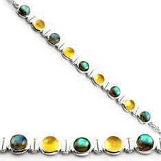 925 silver 27.51cts natural blue labradorite citrine tennis bracelet p81457