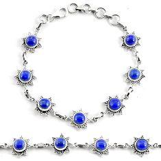 925 silver 8.82cts natural blue lapis lazuli round tennis bracelet p68095