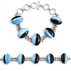 925 silver 58.30cts natural blue owyhee opal tennis bracelet jewelry p46032