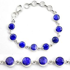 925 silver 20.69cts natural blue sapphire round tennis bracelet jewelry p87813