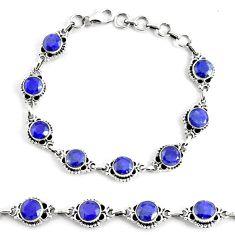 925 silver 19.34cts natural blue sapphire solitaire tennis bracelet p68034