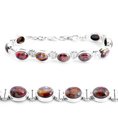925 silver 37.41cts natural brown pietersite (african) tennis bracelet p40017